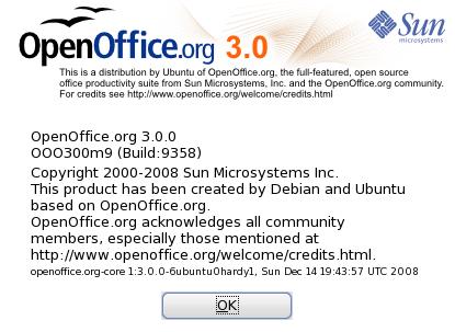 Open Office 3.0 di Hardy Heron