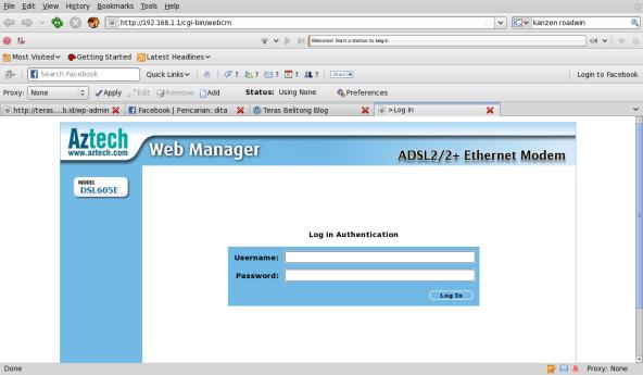 Halaman Login Aztech via Browser