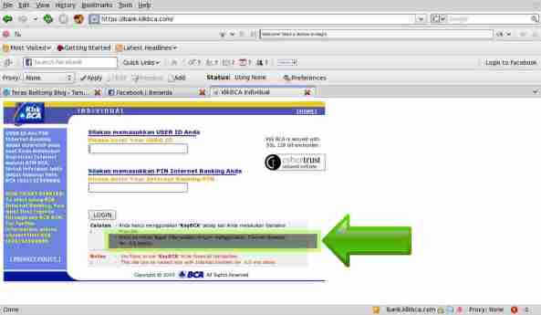 Layar KlikBCA dengan pemberitahuan Browser yang bisa digunakan