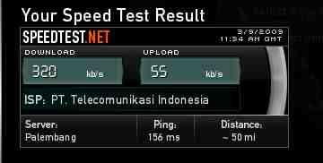 Hasil test Speedy di Belitong per 09 Maret 2009