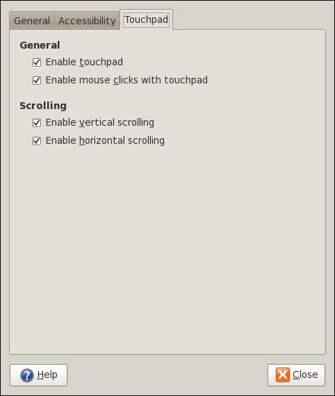 Pengaturan Touchpad